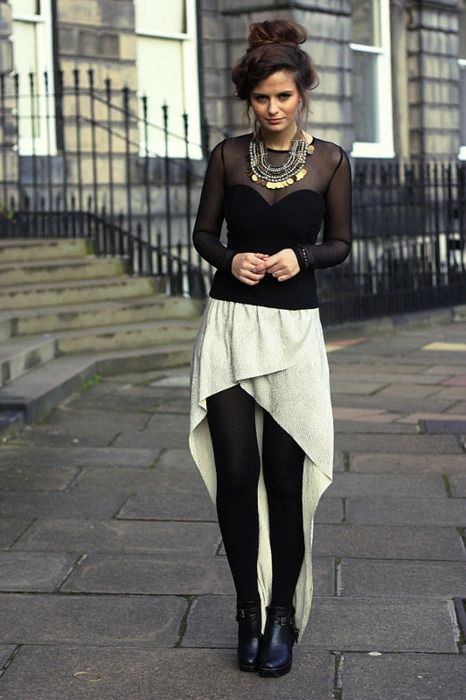 17+ images about How to combine skirts, tights and boots ...
