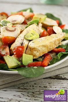 Honey Mustard Chicken Salad #HealthyRecipes #DietRecipes #WeightlossRecipes weightloss.com.au
