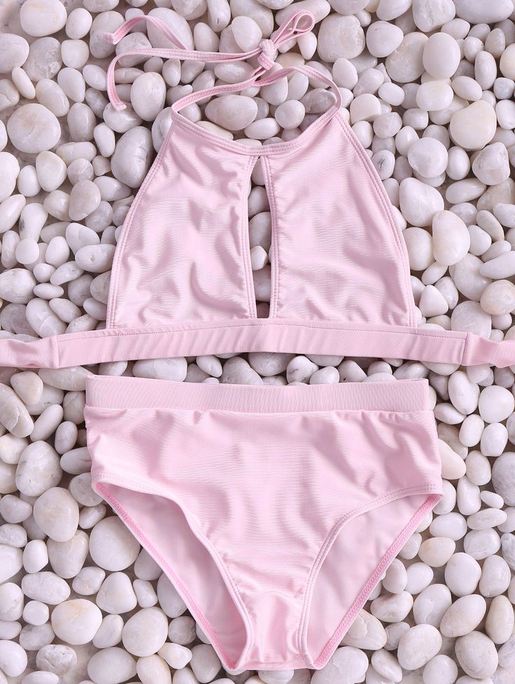 Pink High Neck Cut Out Bikini Set