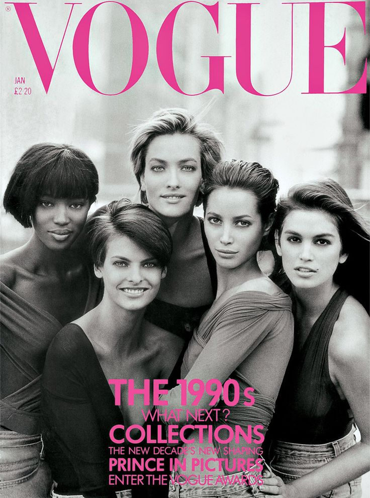 Vogue UK January 1990 Cover with Naomi Campbell, Linda Evangelista, Tatjana Patitz, Christy Turlington and Cindy Crawford