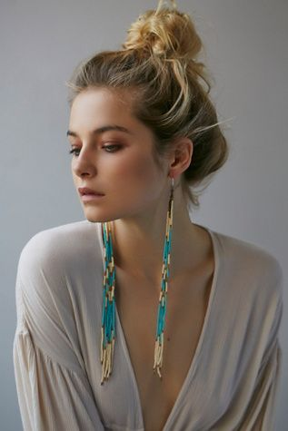 Ghost Dancer Earrings | Free People Statement beaded long fringe earrings on metal chain.