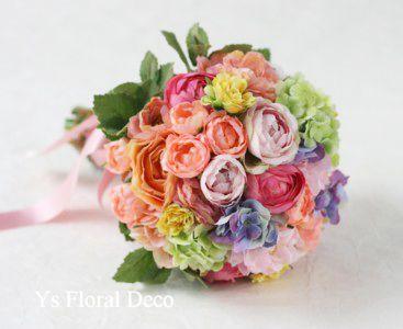 カラフルなミックスカラーブーケ アーティフィシャルフラワー @グランラセール鹿児島 ys floral deco