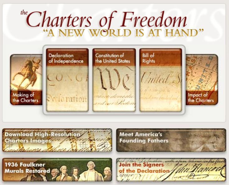 Website includes: The Declaration of Independence, The Constitution of the United States, The Bill of Rights, Making of the Charters, Impact of the Charters, Biographical Overview of the Delegates, and much more.