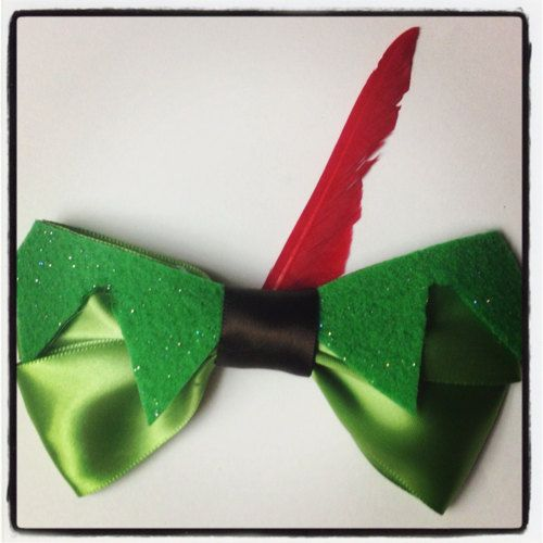 Peter Pan Inspired Disney Hair Bow by 500daysofdisney on Etsy, $8.25