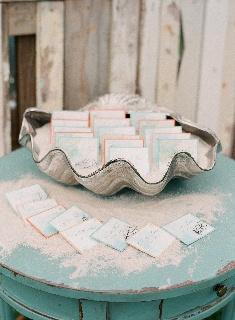 Beachy escort cards on something blue... ranihoover.com