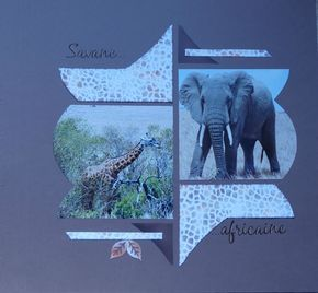 Savane Africaine page réalisée avec le gabarit Noisettes 2 Azza. Décor avec le gabarit Texture Girafe et la pâte texture, colorée avec encres Azza
