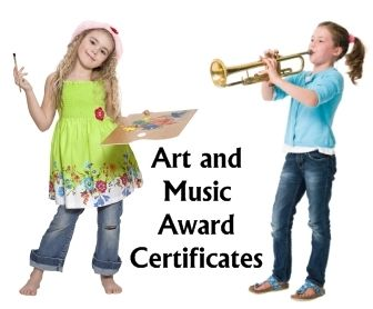 The awards on this page can be used by art and music teachers, as well as elementary teachers for art projects that are completed in their class.  You'll also find drama, acting, and theater awards on this page:  http://www.uniqueteachingresources.com/art-and-music-award-certificates.html