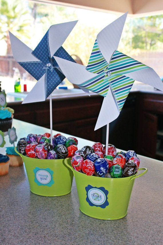 Blue and Green Birthday Collection printable pinwheel set Instant Download-By Sweet Willow Designs -Blue origami.