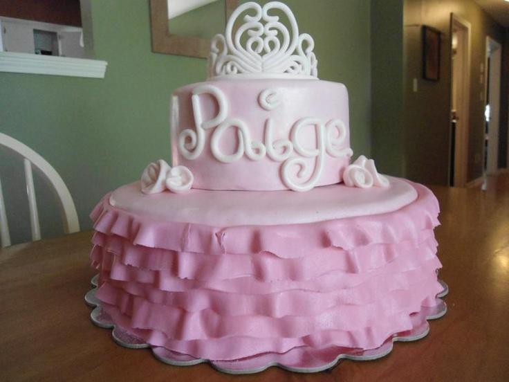 Princess Tiara Pink Tutu Baby Girl Birthday Shower Cake