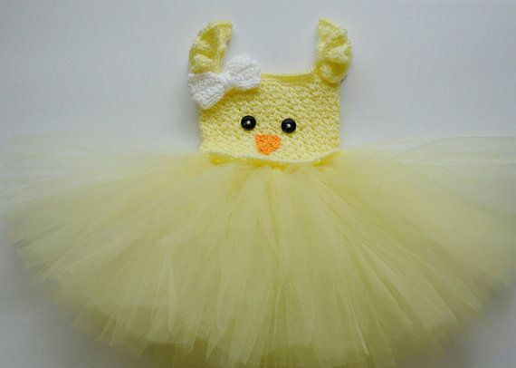Easter Chick Tutu Dress Crochet Easter Baby by CubbyCreations