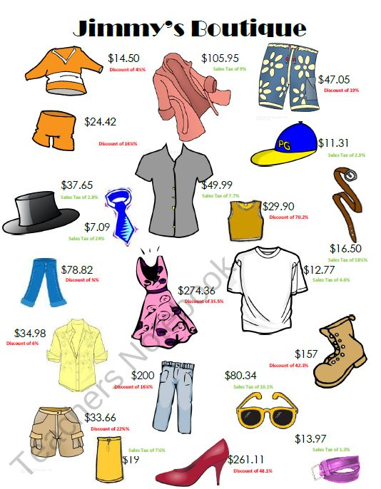 Jimmys Boutique Activity - Sales Tax and Discount from Mrs _Ds_Corner on TeachersNotebook.com (4 pages)  - *FREEBIE* This download is for 1 activity or minilesson to reinforce sales tax and discount for middle school and high school students.