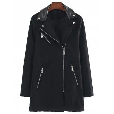 PU Detail Wool Blend Walker Coat $34.40