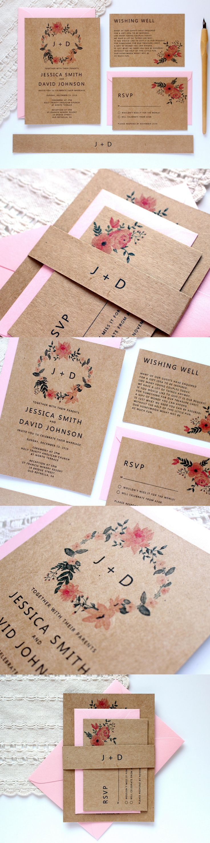 Kraft wedding invitation with pink floral wreath by Paper Bound Love