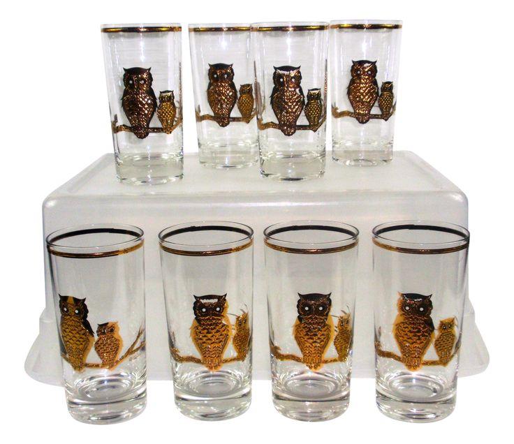 Culver Vintage 22k Gold 8 Owl Hi Ball Glasses on Chairish.com