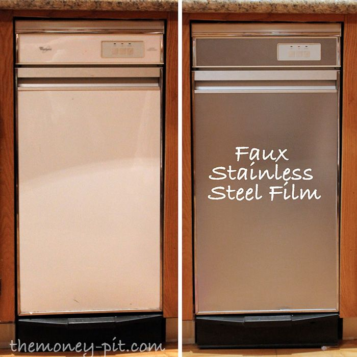 One Day Kitchen Updates • Ideas and tutorials, including how to update appliances to stainless for less than $25, by 'Kim Six Fix'!