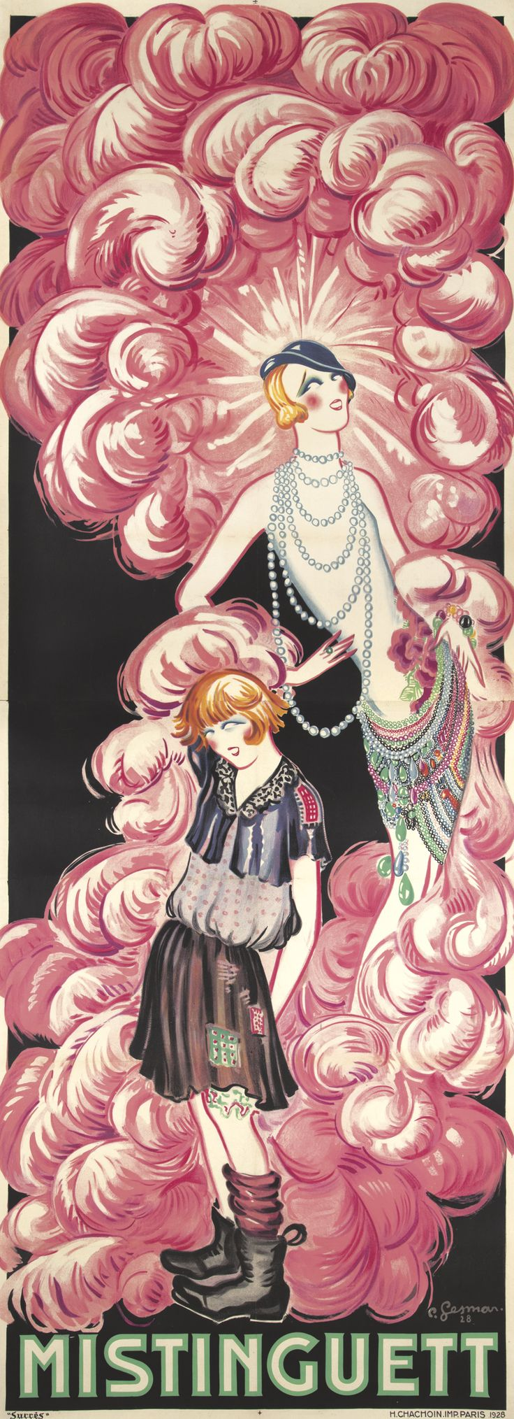 """Just for those billowing plume-like pinkish clouds, Charles Gesmar's 1928 """"Mistinguett,"""" the stage name of a popular French actress. I guess this is a rags-to-riches vehicle."""