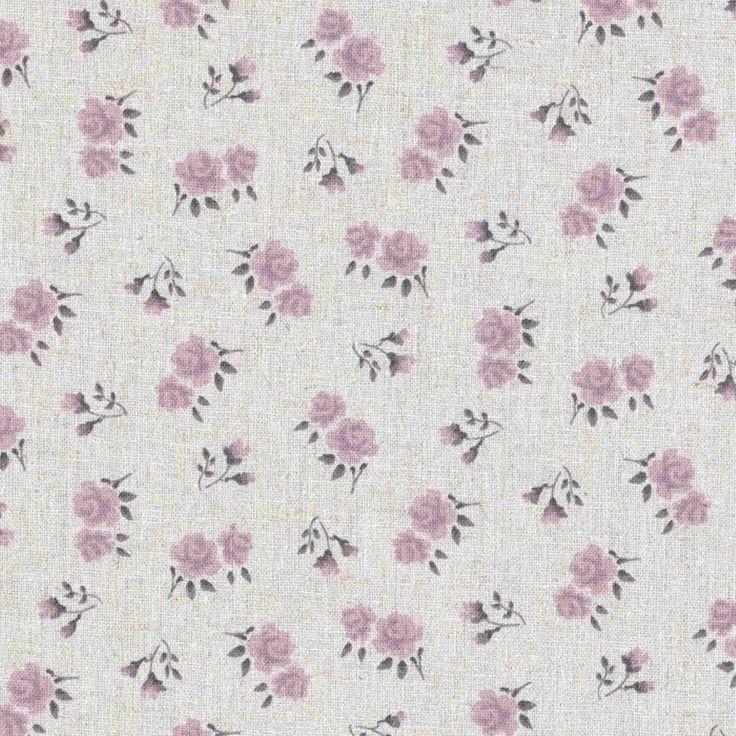 Tessuto Shabby Chic stoffa a rose colo lilla mistolino cm 50 x 150
