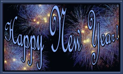 New Year's animated GIFs | Happy New Year fireworks blue on black with frame.