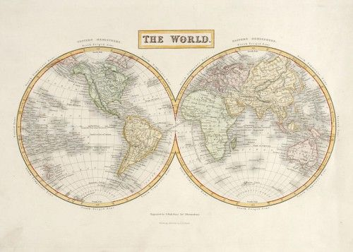Sidney Hall. The World.  Original steel engraved map of the world with later hand colour. Published by A & C Black c. 1850.