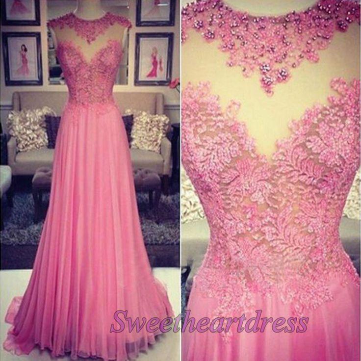 Modest prom dress, ball gown beautiful pink chiffon long evening dress for teens #coniefox #2016prom