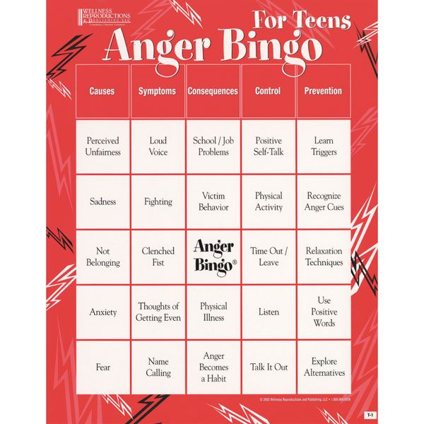 Printable Anger Bingo Cards | Large Print Bingo Cards ...