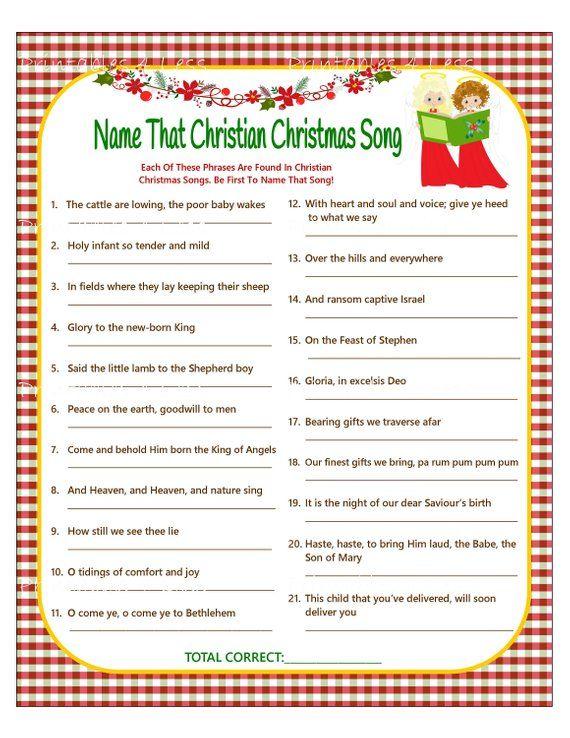 Christmas Song Game Christian Christmas Carol Game Christmas Etsy Christian Christmas Party Games Christmas Party Games For Groups Christian Christmas Party