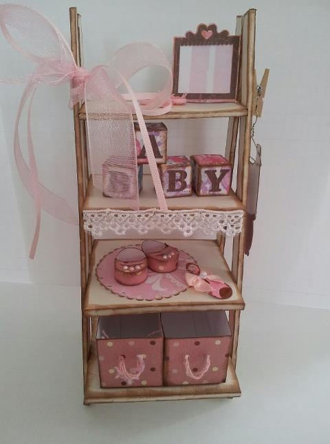 Baby Girl Shower Gift Shelf (pattern from SVG Cuts Blog) :)