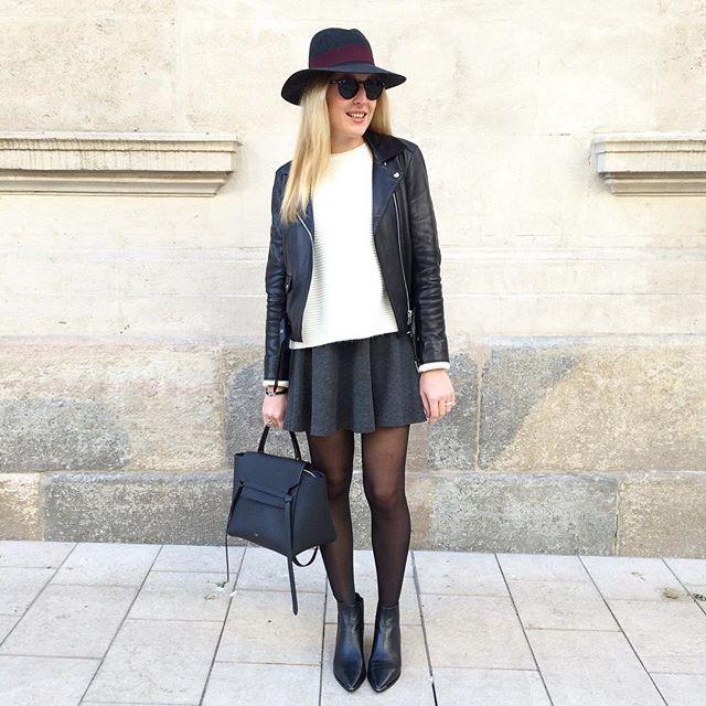 P a t i n e u s e #outfit #todayimwearing • perfecto #sandro • pull #maje • jupe #mango • boots #jensen #acnestudio • chapeau #maisonmichel • sac #belt #celine