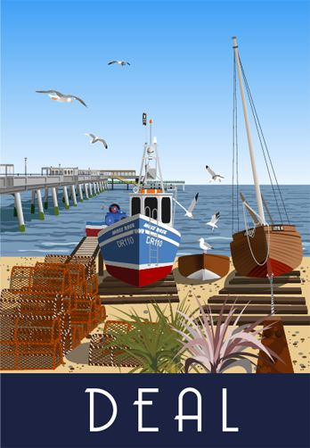 Deal Seafront, Pier and Fishing Boats. A bit of artist licence in this one! Railway Poster style Illustration by www.whiteonesugar.co.uk Kent Coast