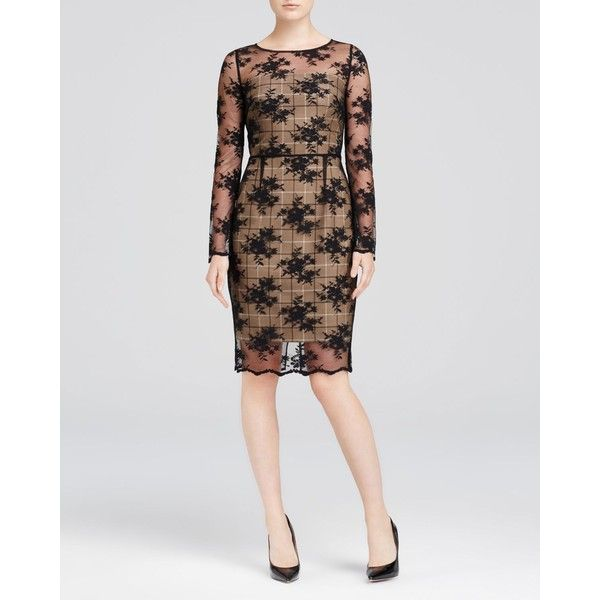 Bailey 44 Broome Lace Overlay Plaid Sheath Dress ($255) ❤ liked on Polyvore featuring dresses, camel, special occasion dresses, long sleeve dresses, floral lace dress, cocktail dresses and long sleeve cocktail dresses