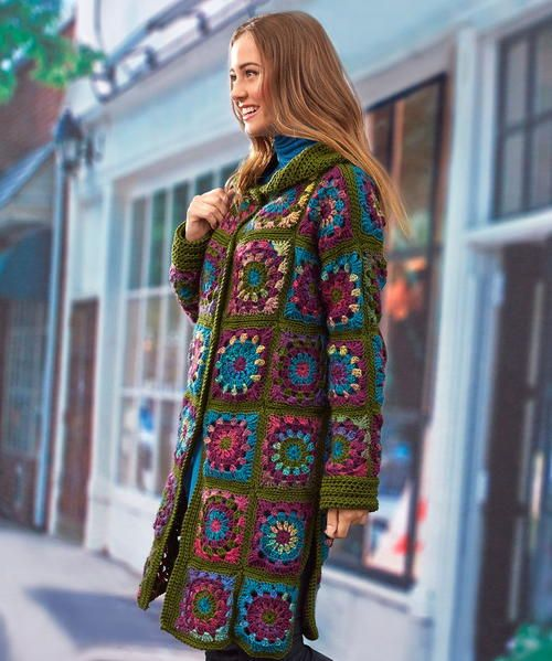 The Vintage Blooms Crochet Coatigan is a vivid, full-colored mosaic of floral-inspired granny squares. This crochet coatigan takes your individual crochet granny squares and combines them to form a knee-length button up crochet sweater coat. This cozy coatigan shines in shades of green and purple and is worked up in worsted weight yarn. Available in sizes small through 3x, this retro beauty will turns heads this fall. Stay cozy and warm with this fun crochet coatigan!
