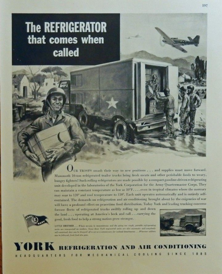 York Refrigeration and Air Conditioning  print ad  40 s B W Illustration  comes when called