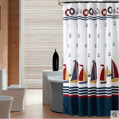 Cosette New Thickened White Sailboat Anchors Fabric Shower Curtain 71 by 71 -- Read more reviews of the product by visiting the link on the image.