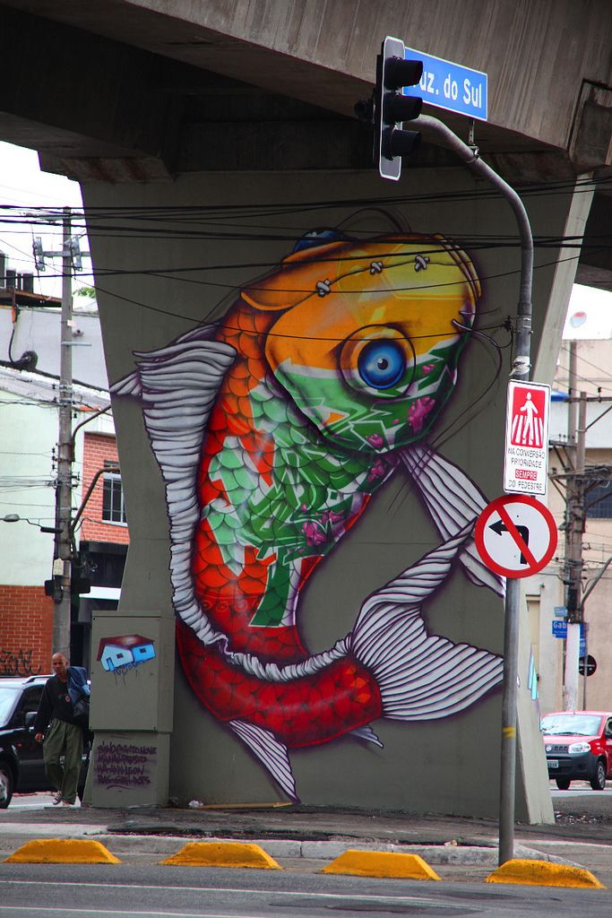 Street artists painted 77 walls below the train line at Santana station, Sao Paulo and created the first street art open air museum (MAAU), at the initaitive of street artists Chivitz and Binho.