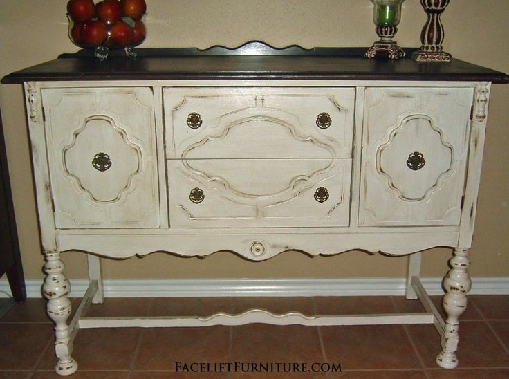 Antique White Buffet with Dark Top, from Facelift Furniture's DIY Blog.