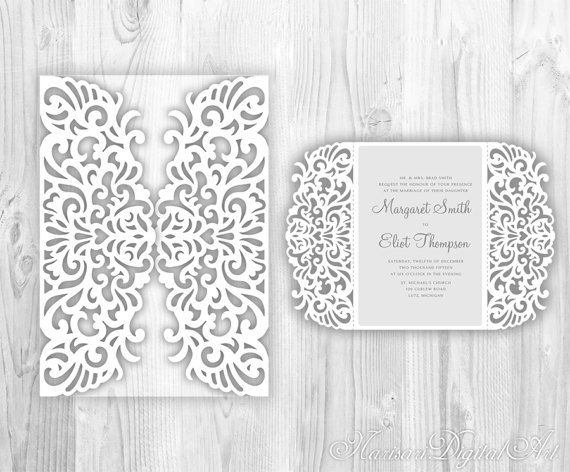 intricate wedding invitation laser cut pattern card template gate fold lace card mockup svg. Black Bedroom Furniture Sets. Home Design Ideas