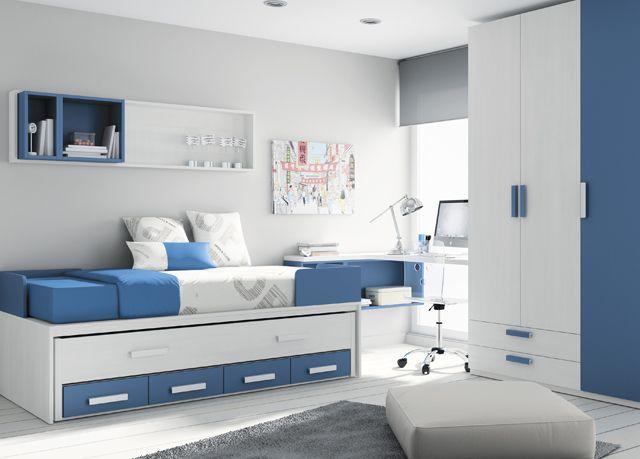 Kids Touch 37 Dormitorio juvenil Juvenil Camas Compactas y Nidos Cama compacta con cama cajones, escritorio, estantería y armario.