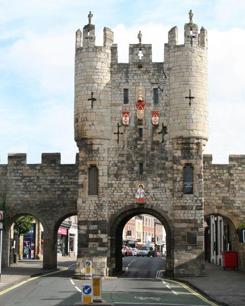 Micklegate Bar (in York) is probably the most important Bar being the gateway to the south.   The Bar was therefore the natural location for the city dignitaries to greet visiting royalty but it was also the principal gate for displaying the heads of traitors!  York, England
