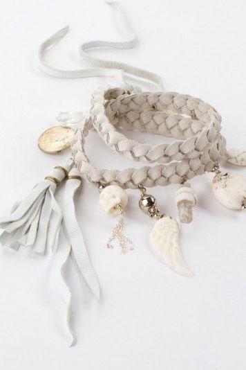ivory leather charm fringe boho bracelet