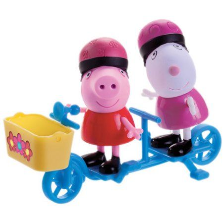 Peppa Pip Peppa and Suzy Sheep Bicycling Figures Pack, Multicolor
