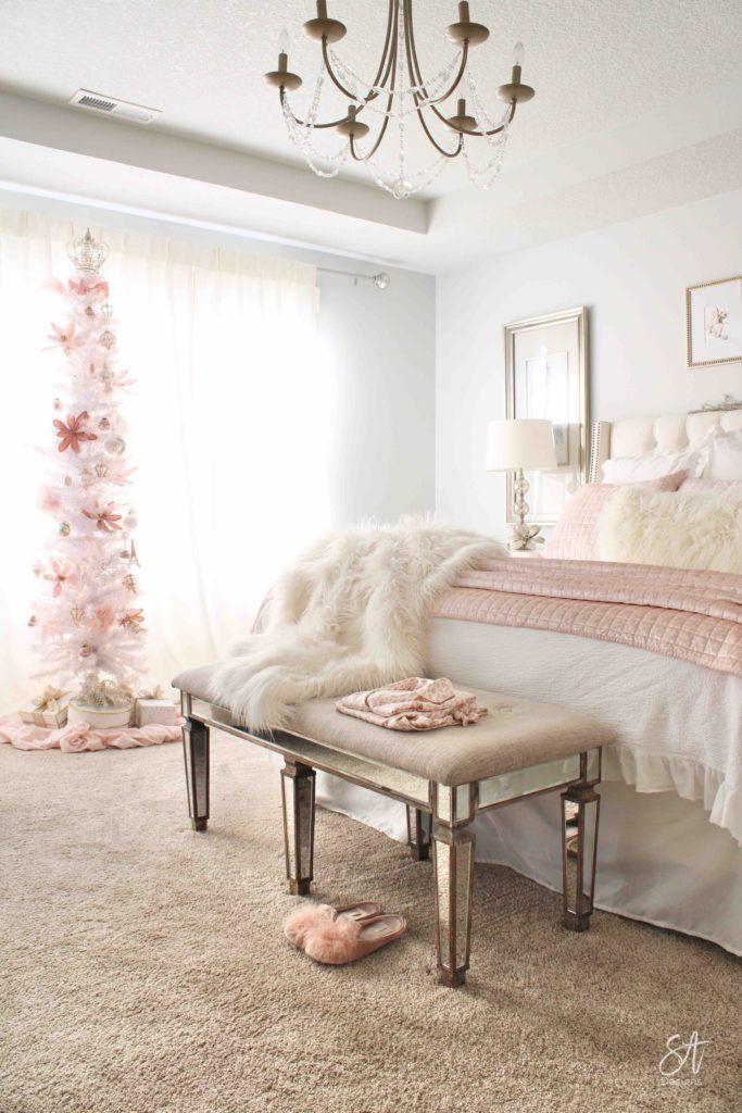 Blush Pink Christmas Master Bedroom Pink Christmas Bedroom Shabby Chic Master Bedroom Pink Master Bedroom