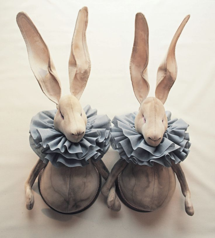 Twin Textile Hares By Mister Finch: