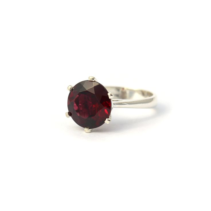 Enchanted Crown Ring Silver and Rhodolite Garnet | Handmade from sterling silver this stunning cocktail ring is set a 10mm Rhodolite garnet. #Birthstone #Ring #GiftIdea
