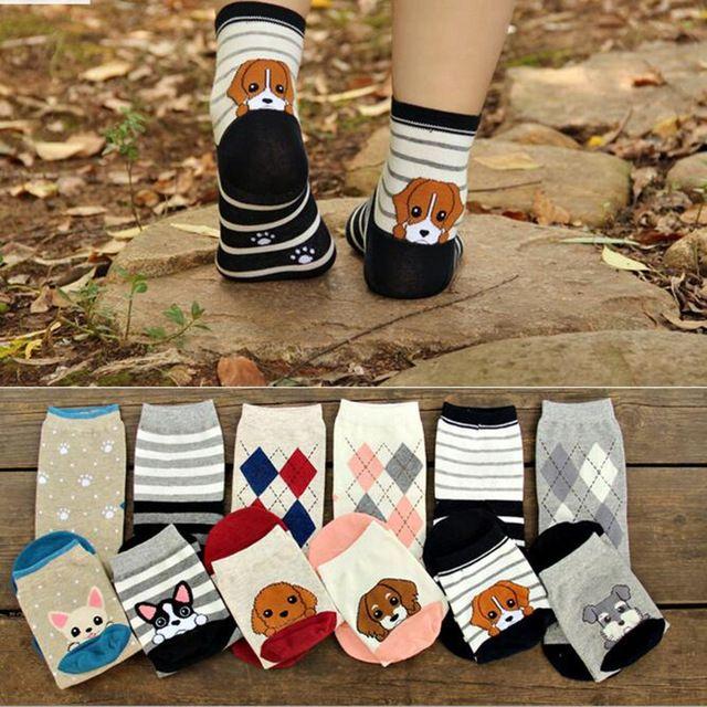 5 paires/lot Femmes Chaussettes Mode 3D Imprimer Bas Chaussettes Animal Chien Drôle Casual Chaussettes De Noël Chaussettes Coton calcetines meias