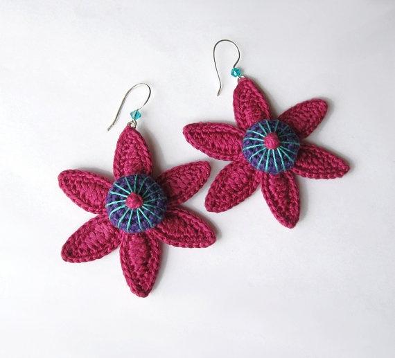 Cotton yarn crochet earrings
