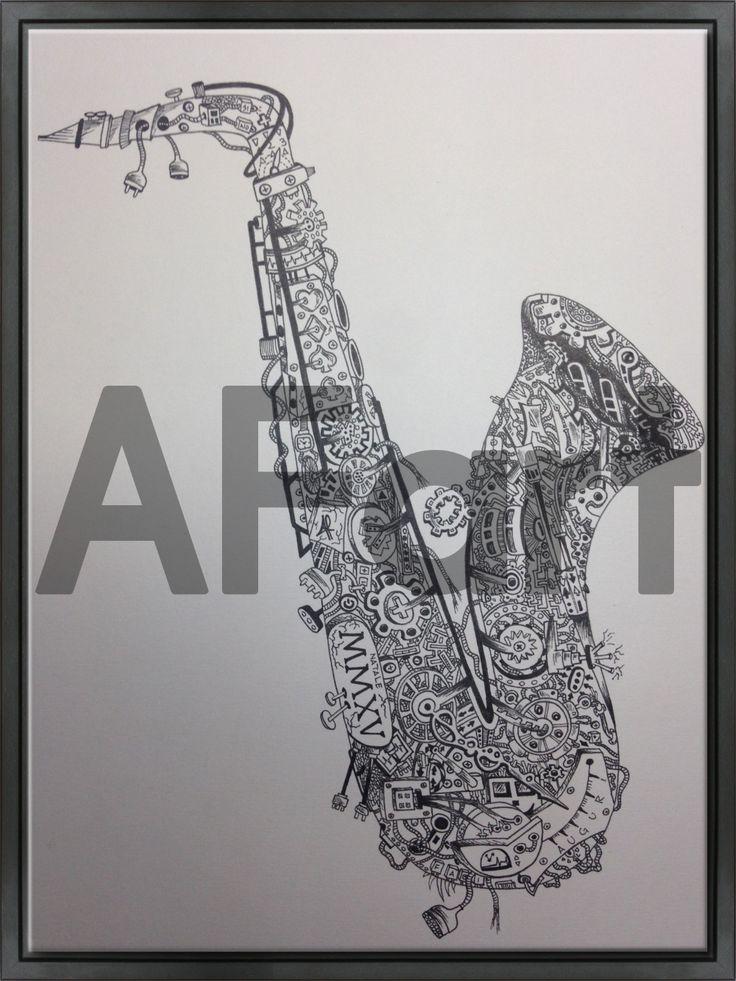 • La Meccanica del Saxofono • Drawing. Arte, art, disegno, drawing, draw, painting, paint, grafica, graphic, bianco e nero, dettagli, ingranaggi, sax, musica, colori, music, jazz