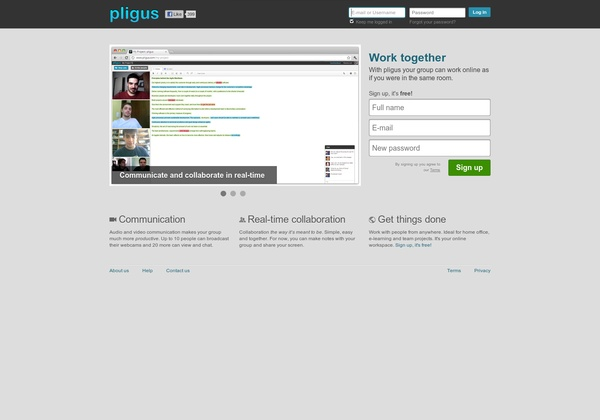 Pligus - Web-based - Free collaboration and video conferencing for up to 4 people. http://www.pligus.com