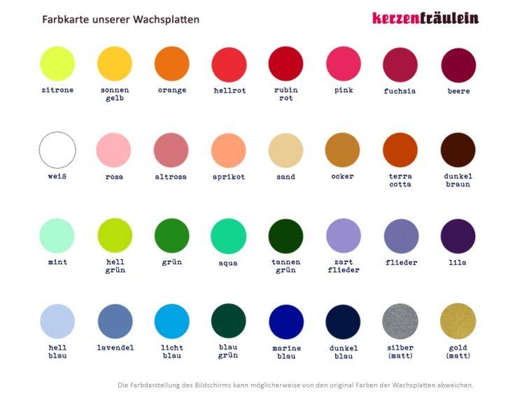 Zur Information: Farbkarte unserer einfarbigen Wachsplatten