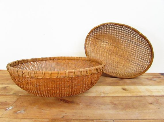 Two Vintage Wicker Baskets Large Wicker Fruit by FoxLaneVintage, $27.95