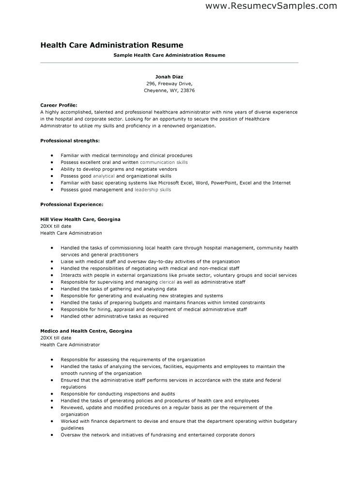 Resume Examples Healthcare Administration